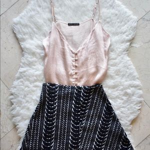 Zara Navy & White Patterned Skirt